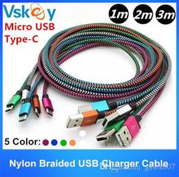 Telemóvel i on-line-1m 2m 3m Nylon trançado tipo c cabo para samsung i telefone i6 i7 i8 ix mais android celular micro usb sincronização de dados cabo 3ft 6ft 10ft