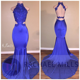 Wholesale Stretch Satin Halter Dress - Royal Blue Mermaid Prom Dresses Long Halter Neck Lace Appliques Sexy Backless Formal Pageant Gowns Long Train Pageant Dresses Custom Made