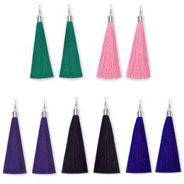 Wholesale Wholesale Silk Thread - Ethnic Green Long Tassel Drop Earring Fashion Vintage Silver Plated Party Gift Black Pink Silk Thread Dangle Earrings for Women Jewelry 2017