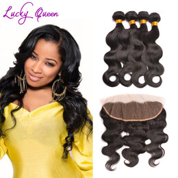 Wholesale Raw Unprocessed Virgin Hair Wholesale - 13x4 Body Wave Lace frontal Closure With Bundles Unprocessed Indian Virgin Hair With Fontal Closure Raw Indian Virgin Hair
