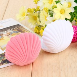 Wholesale Elegant Cases - Cute Candy Color Wedding Elegant Shell Shape Velvet Jewelry Rings Box Pendant Locket Container Case New Fashion
