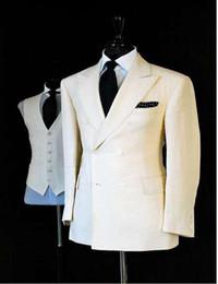 Wholesale White Italian Suits - Wholesale- 2017 New Arrival Double Breastrd Tuxedo Party Italian Mens Suit White Straight Traje De Hombre Wedding (Jacket+Pants+Vest+ tie)