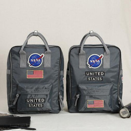 Wholesale Travel Weights - 2 Styles NASA Backpack Couple Day Pack ALPHA Nylon Backpack Light Weight Travel Bags School Backpacks For Teenager CCA8050 5pcs