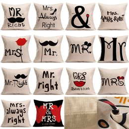 Wholesale Cartoon Mouse Cases - Creative Cotton Linen Cartoon Couple Mr & Mrs Mickey Mouse Mr Right Throw Pillow Case Home Textile