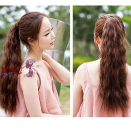 """Wholesale Wavy Ponytail Hair Extensions - Wholesale-Good Quality New Fashion 21"""" 120g Wavy Synthetic Wrap Around Ponytail Hair Extension Pony Tail 3 Colors Drop Shipping Hair-00194"""