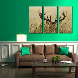 Wholesale Deer Stag - 3 Panels Painting Deer Stag With Long Antler In The Bushes Picture Printed On Canvas with Wooden Framed For Home Living Room Decor to Hang