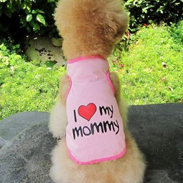 Wholesale Love Pink Clothing Sweaters - New Pet Dog Puppy Cat Vest Coat Cute T-Shirt Size S-XXL letter Printed I Love Mom and Dad Four Colors Dog Clothes D-030