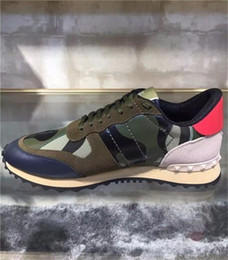 Wholesale Camouflage Rocks - Free Shipping Star Studded Shoes Mesh Leather Camouflage Studded Shoes Combo Stars Rock Runner Metallic Lace-up Shoes Rock Studs size 35-46