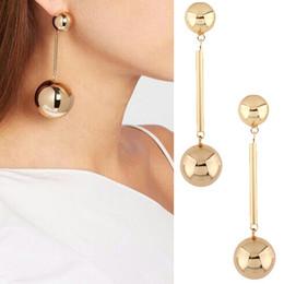 Wholesale Pink Chandelier Jewelry - hot sale fashion jewelry designer popular stylish woman lady metal long round ball golden dangle chandelier earring