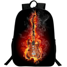 Wholesale play rock - Electric guitar backpack Fire rock daypack Hot play schoolbag Leisure rucksack Sport school bag Outdoor day pack