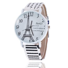 Wholesale Women Leather Watch Eiffel Tower - Free shipping Foreign trade sales in sale Geneva upscale atmosphere grade Eiffel Tower belt men and women quartz watch