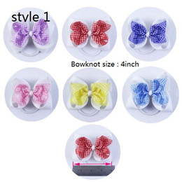 Wholesale Girls Ribbon Ponytail Hair Bow - 7 style available 4 inch Ribbon Baby Boutique Girl Hair bows Hair Elastic rubber band ponytail hair ties holders 20pcs