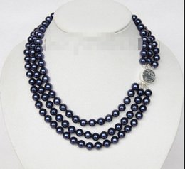 "Wholesale Navy Pearls Necklace - Free Shipping ** 16"" 3row 8mm round navy blue sea shell pearls necklace 925 silver clasp j9583"