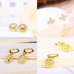 Wholesale Wholesale 24k Gold Jewelry - Brand New Wedding Stud Earring Hoop Luxury For Women Top Fashion CZ Simulated Diamonds Wholesale 24K Gold Plated Fine Jewelry Free Shipping
