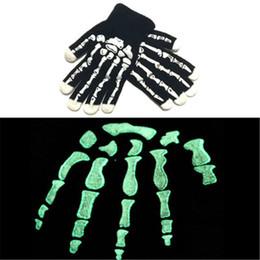 Wholesale Winter Skeleton Gloves - Halloween Skull Skeleton Gloves Luminous Autumn Winter For Men Women Knitted Gloves Crochet Adults Warm Finger Mittens