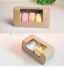 Wholesale Window Cookie Boxes - Wholesale- kraft paper Macarons boxes, kraft packaging box with window ,cookie kraft box