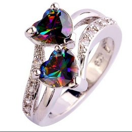 Wholesale Rainbow Gems - Fashion Lover Jewelry Double Heart Cut Rainbow & White Topaz Gemstone Silver Ring crystal Rhinestones Gem Rings Size 6 7 8 9