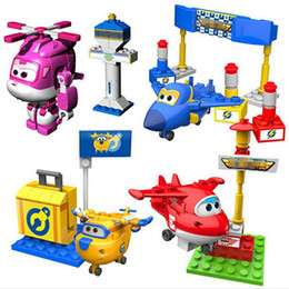 Wholesale Airplane Wings - Super Wings Mini Airplane ABS Robot toys Action Figures Super Wing Transformation Jet Animation Children Kids Gift Brinquedos
