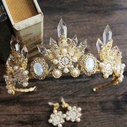 Wholesale Bridal Tiara Hair Crown Sets - 2017 Luxury Crystal Gold Wedding Bridal Crown Hair Accessories Baroque Vintage Pearls Crown Rhinestones Beaded Jewelry Set Free Shipping