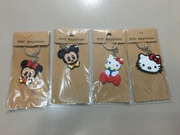 Wholesale Silver Plastic Spikes - 4pcs lot Hot Cartoon Mickey Mouse Hello Kitty PVC Keychain Cute Niced Mickey and Minne Keyring Pendant Toys Anime Doll Gift For Girl Friend