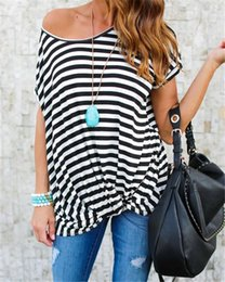Wholesale Wholesale Womens T Shirt - Fashion Womens Loose Striped Short Sleeve Tees Casual T-Shirt Tops