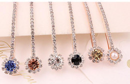 Wholesale Hair Accessories Stones - 2017 New Fashion Long Rhinestone Hair Clip Fashion stones Hair Jewelry For Women Crystal Hair Accessories
