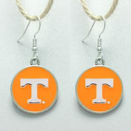 Wholesale Stud Earring Sports - 10Pairs Charm Sports Team NCAA Tennessee Glass Stud Earrings Pendant Earrings For Women Jewelry Gift