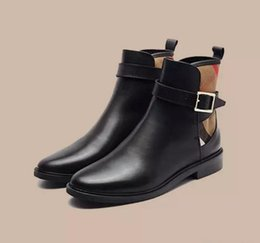 Wholesale Womens Boots High Heels Brand - 2017 hot sell luxury Brand Strap Detail House Check and Leather Ankle Boots High Quality Womens Boots Classic Boots