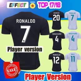 Wholesale 2018 Real Madrid player version Home White Away black Soccer Jersey CR7 soccer shirt Ronaldo Bale Football Asensio SERGIO RAMOS Shirts