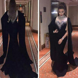 Wholesale Haifa Dresses - 2017 Haifa Wahbe Beaded Black Evening Dresses Sexy Cape Style Latest Mermaid Evening Gowns Dubai Arabic Party Dresses Real Pictures Custom