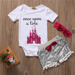 Wholesale Tops Shorts Headband - Mikrdoo 3Pcs Baby Cotton Set Newborn Kids Girl White Once A Time Tops House Rompers Sequin Tassel Pants Headband Outfits Sunsuit Set 0-24M