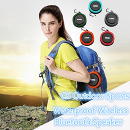 Wholesale Sound Card Pc - 2017 C6 Outdoor Sports Shower Portable Waterproof Wireless Bluetooth Speaker Suction Cup Handsfree MIC Voice Box For iphone 6 iPad PC Phone