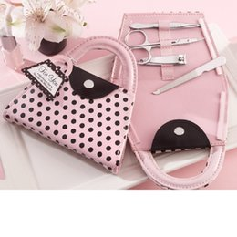 Wholesale Purse Party Favor Boxes - Wedding Favor Gift Pink Polka Dot Purse Manicure Set Pedicure Packed In Pink Gift Box WA2310