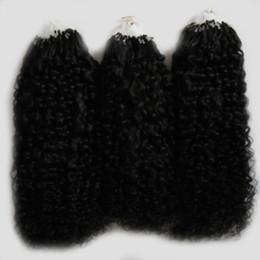 enlace de micro bucle Rebajas Color Natural afro rizado rizado micro extensiones de cabello 300g pelo rizado mongol rizado Micro Link Extensiones de Cabello Humano 300 s