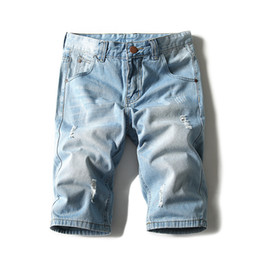 Wholesale thin feet - Wholesale- Plus Size 28-42 Denim Shorts Male Summer Classic Jeans Feet Slim Was Thin Shorts Knee Length Lightweight High Quality Jeans