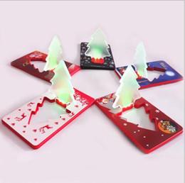 Wholesale Flash Xmas Cards - Pocket Folding Tree Shape LED Night Light Christmas tree Lamp Card Xmas Décor Light Flashing Gifts Greeting Cards Folding Light KKA3030
