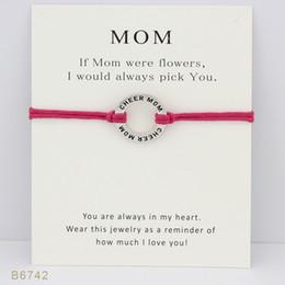 Tono de plata Cheer Mom Charm Bracelets Bangles para mujeres niñas Joyería de declaración ajustable de la amistad con tarjeta desde fabricantes