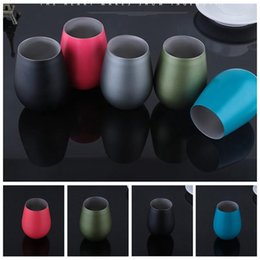 Wholesale Travel Mugs Wholesale China - Double Layer Stemless Wine Mugs 5 Colors 320ML Stainless Steel Wine Cocktail Glasses Outdoor Travel Cups Bar Drinking OOA2084