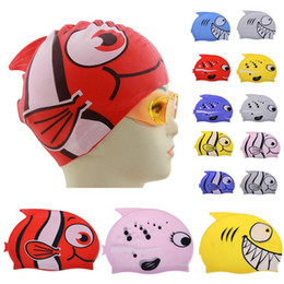 Wholesale Fish Sharks - 2017 New Children's Cartoon Fish Swimming Cap Silicon Waterproof Protect Ear Shark Shape Swim Pool Hat Children Caps 22*18cm