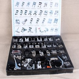 Wholesale Snaps Machine - 32 PCS Domestic Sewing Machine Braiding Blind Stitch Darning Presser Foot Feet Kit Set With Box Snap On For Brother Singer Set