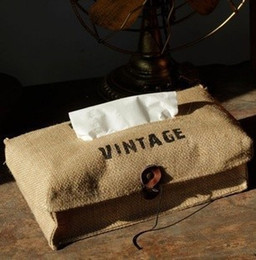 Wholesale Linen Fabric Material - Wholesale- Free Shipping! Vintage Style Linen & Cotton Material Tissue Bag Creativie Fabric Facial Paper Box Storage Bag Hot Selling! S1030