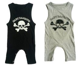 Wholesale Baby Rompers Skulls - Wholesale Halloween Boys Girls Baby Onesies Summer Sleeveless Jumpsuits Skull Printed Rompers Newborn Clothing Toddler Pajamas Clothes