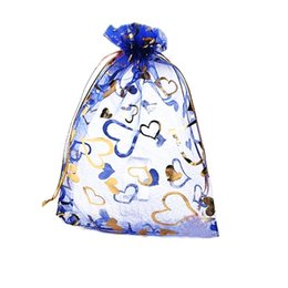 Wholesale Love Heart Organza Bags - 100pcs Royal Blue Love Heart Organza Drawstring Pouches Jewelry Party Wedding Favor Gift Bags 3.5*4.7 in 9*12 cm