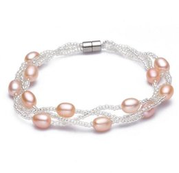 Wholesale Pearls Bracelets Magnet - Hot sell 8-9mm drop-shaped Powerful magnet buckle natural pearl bracelet SL104-189