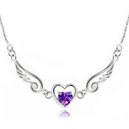 Wholesale heart link 925 necklace - 925 Sterling Silver Angel Wings Love Heart Necklaces & Pendants Rhinestones Silver Chain Necklace Women Fine Jewelry