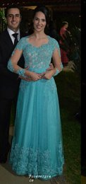 Wholesale Turquoise Women Dresses - Elegant Turquoise Colour Long Sleeves Prom Dress High Quality Tulle Applique Women Wear Special Occasion Party Gown Custom Made Plus Size