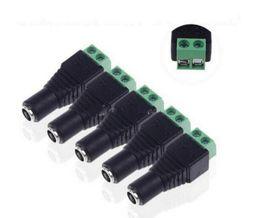 Wholesale Mark X - 5.5 x 2.5mm Female Mark Polarity DC Power Jack Connector Plug Adapter For 5050 3528 Single Color LED Strip Light MYY