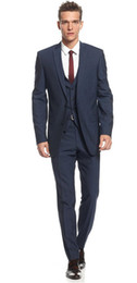 Wholesale Midnight Blue Wedding - Midnight Blue Slim Fit Suits for Grooms 2017 Top Quality Handmade Wedding Suits Design for Men Three Pieces Cheap (Jacket+Pants+Waistcoat)