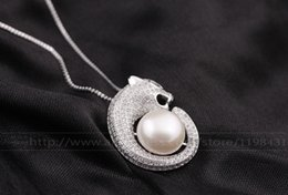 Wholesale Necklace Big Leopard - jewelry necklace boxes [Yinfeng]New 925 Silver Luxury fashion Leopard pendant necklace jewelry 11-12mm big natural freshwater pearl