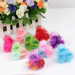 Wholesale Soap Gifts For Wedding - High Quality Mix Colors Heart-Shaped Rose Soap Flower For Romantic Bath Soap And Gift (3pcs=one box) Bath Soap Valentines Gift